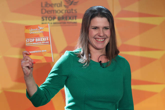 Jo Swinson with the Lib Dems Stop Brexit manifesto