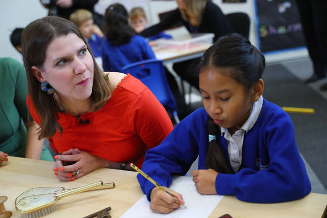 Liberal Democrats leader Jo Swinson during a visit to Trumpington Park Primary School, in Cambridge