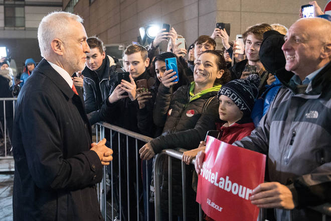 Jeremy Corbyn meeting supporters before the ITV debate