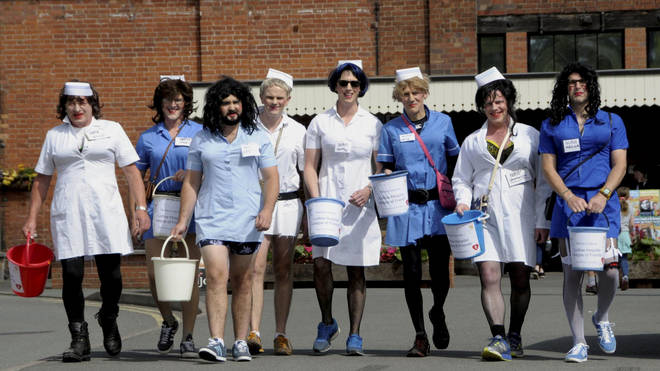 The group of fundraisers dressed as nurses