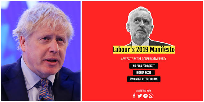 The Tory party has launched a 'fake website' which looks like a Labour website at first glance