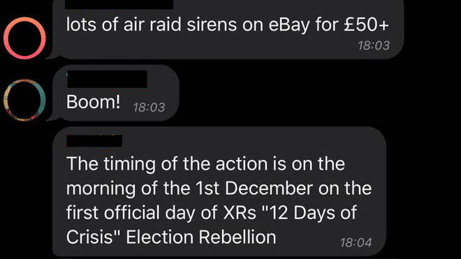 One of the messages about air raid sirens in the secret Telegram group
