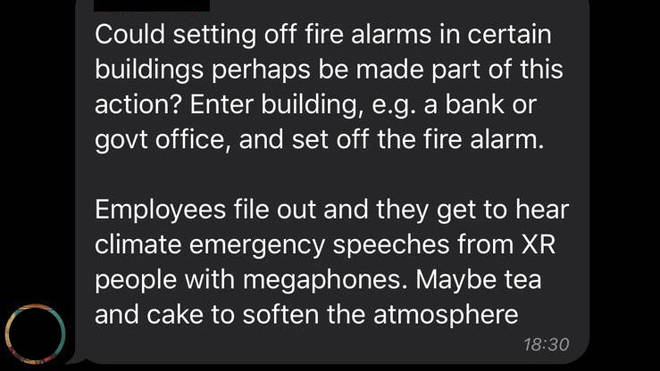 The activists discuss setting off fire alarms
