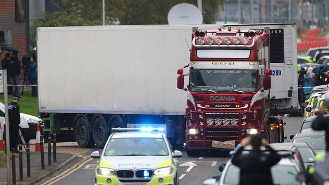 39 people were found dead inside the lorry in Grays, Essex, last month