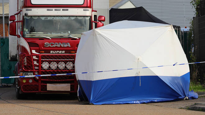 Eight women and 31 men were found in a refrigerated trailer attached to a lorry in an industrial park