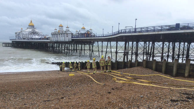 Firefighters used seawater to fight the flames