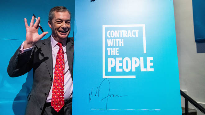 Nigel Farage launched the Brexit Party's election contract