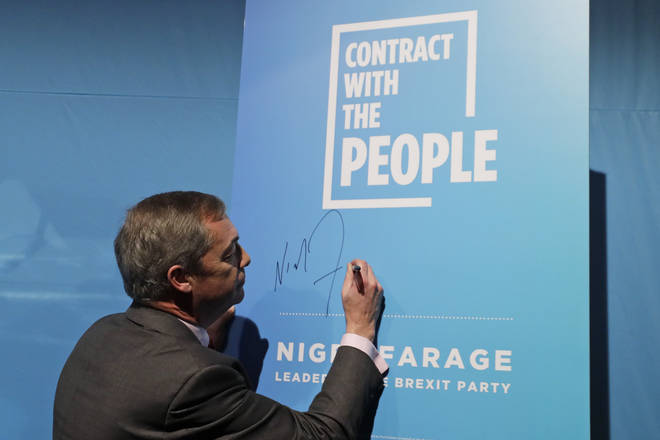 Mr Farage signed his contract with the electorate