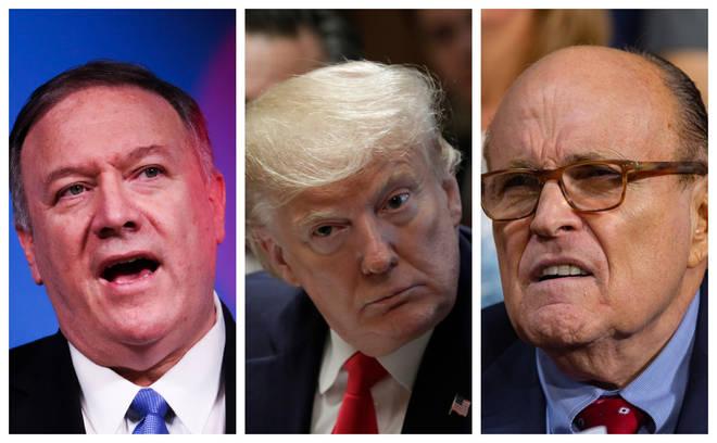Mike Pompeo, Donald Trump and Rudy Giuliani