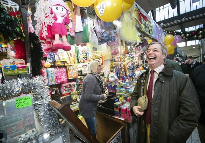 Nigel Farage spoke with market stallholders
