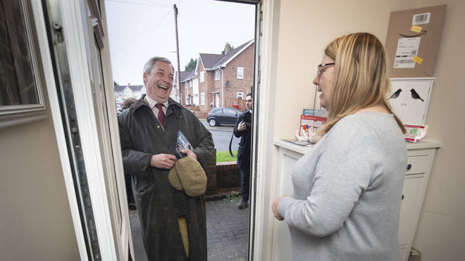 The Brexit Party leader joined canvassers in the north east town