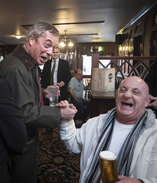 Mr Farage spoke with voters in a Hartlepool pub