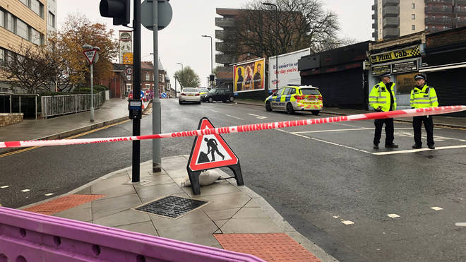 A large police cordon was in place in Ealing following a stabbing