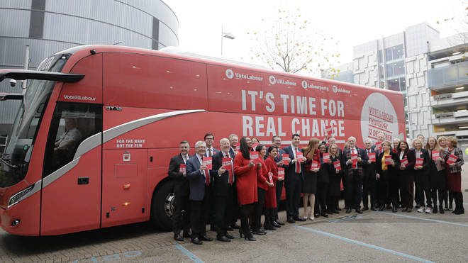 Labour candidates in front of their battle bus