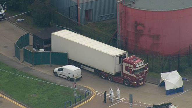 39 people were found dead in the lorry in Grays in Essex