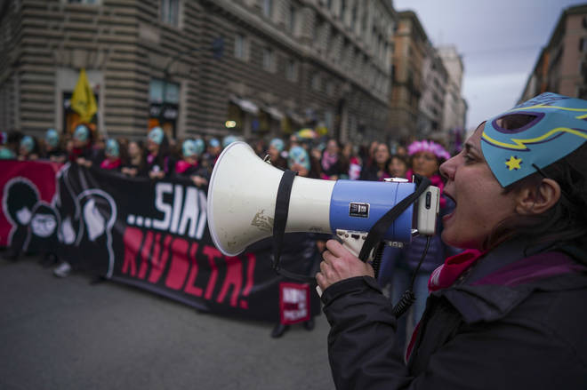 Demonstrators in Rome march during a national march against violence on women