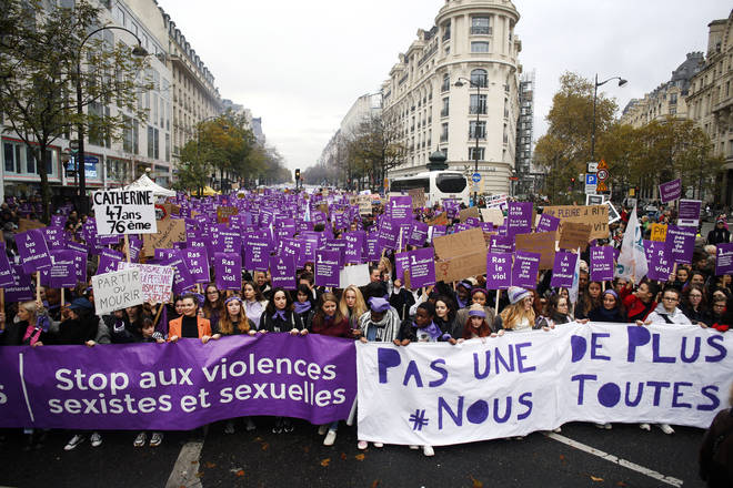 Protests in Paris that mark the International Day For The Elimination Of Violence Against Women