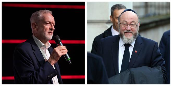 Jeremy Corbyn and Chief Rabbi Ephraim Mirvis