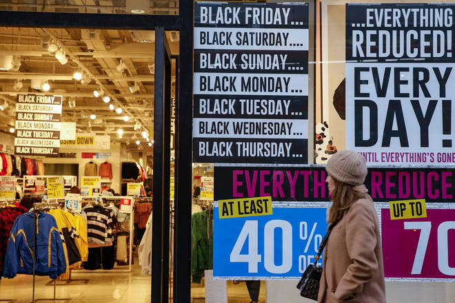 Advertisements for Black Friday reductions