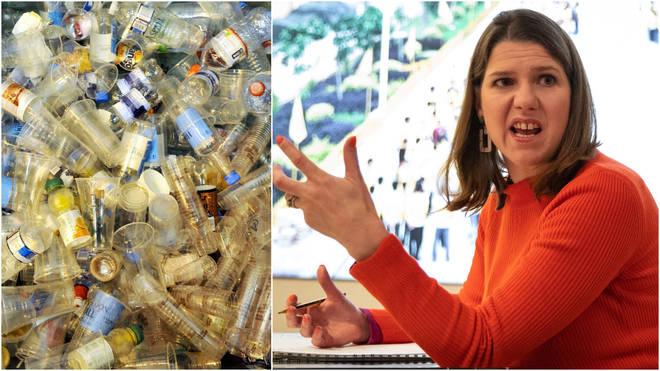 Lib Dem leader Jo Swinson has said her party will ban all single use plastics within three years