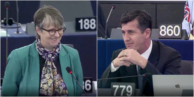 Green Party MEP Molly Scott corrected Brexit Party MEP Robert Rowland