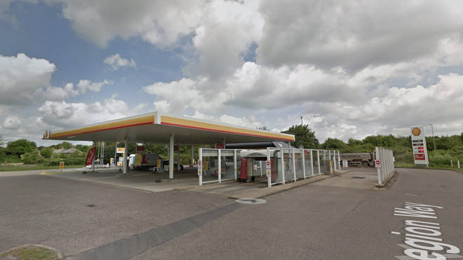 The lorry was pulled over at the Shell garage in Godmanchester