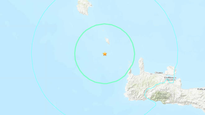The epicentre of the quake was off the holiday island of Crete