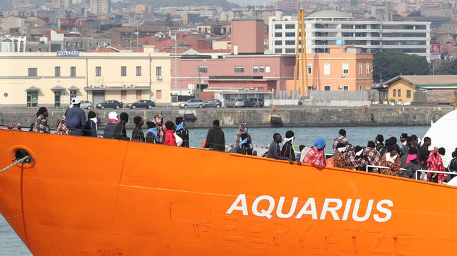 The Aquarius carrying rescued immigrants arrives on the island of Sicily after a rescue operation in the Mediterranean sea.