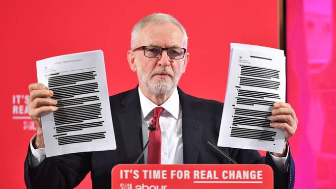 Mr Corbyn showed a press conference the redacted version of the documents