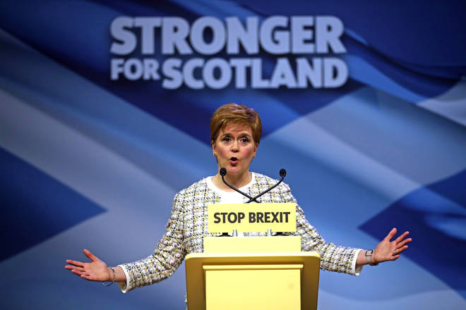 First Minister Nicola Sturgeon at the SNP general election manifesto launch in Glasgow