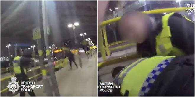 Shocking footage shows brave officers restrain the attacker