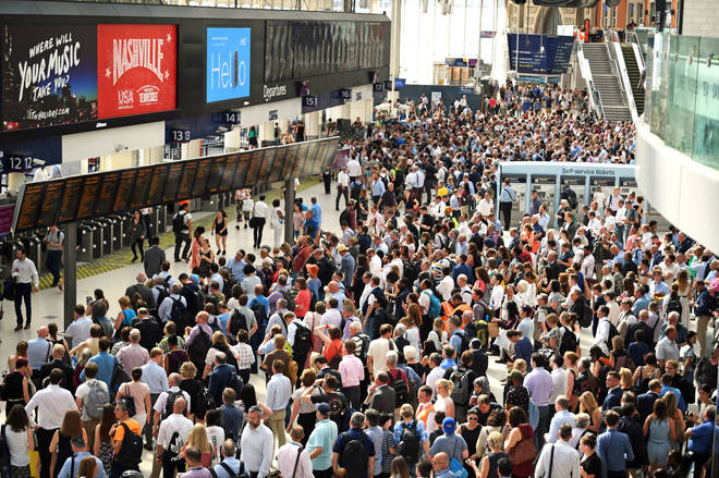Commuters facing disruption at a crowded London Waterloo station