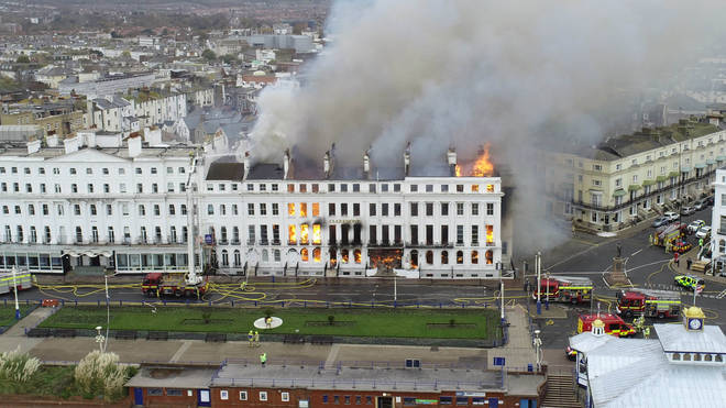 A huge blaze has devastated the Claremont Hotel