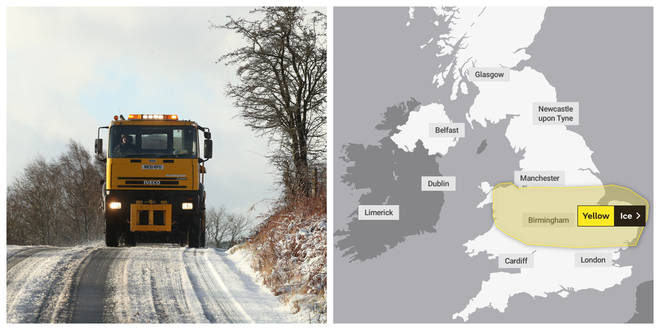 The Met Office has warned of ice on the roads