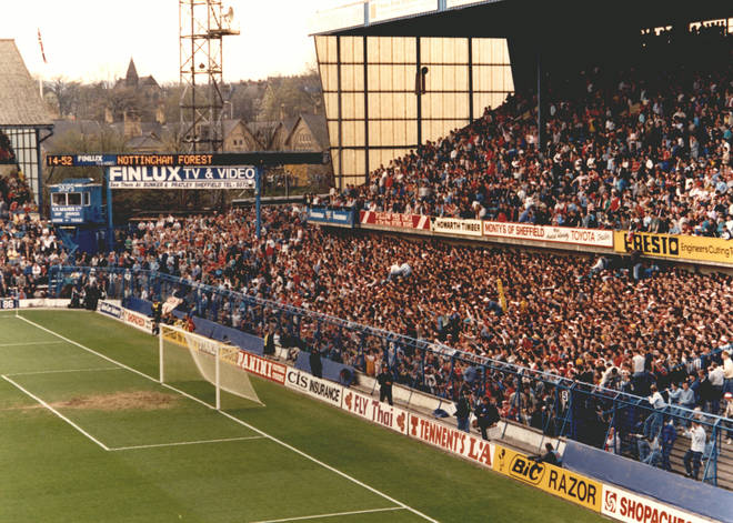 The West Terrace at Leppings Lane end of the Hillsborough football ground
