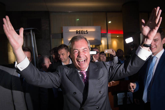 Nigel Farage celebrates on referendum day
