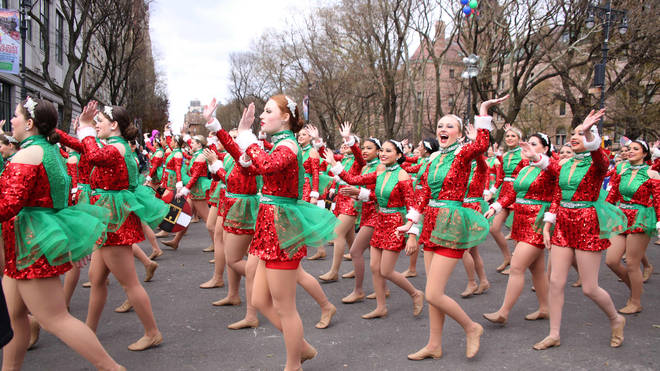 Marchers and dancers lined the streets of New York