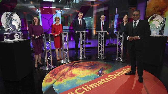 L-R: An ice sculpture, Liberal Democrat leader Jo Swinson, SNP leader Nicola Sturgeon, Plaid Cymru leader Adam Price, Labour Leader Jeremy Corbyn, Green Party Co-Leader Sian Berry, and another ice sculpture on last night's debate