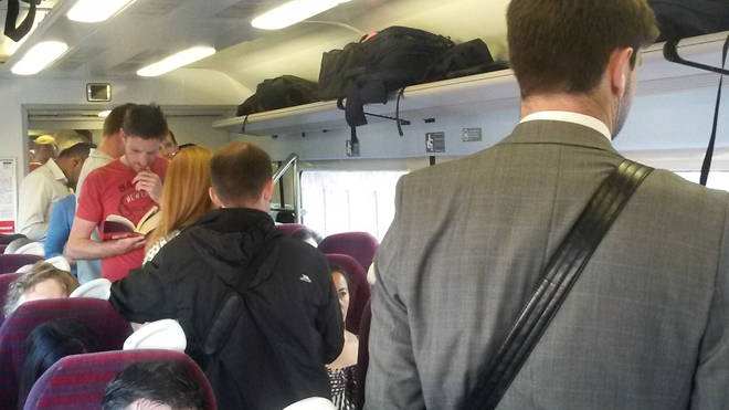 The woman shared her frustration over the seat situation on the busy commuter train (file image)